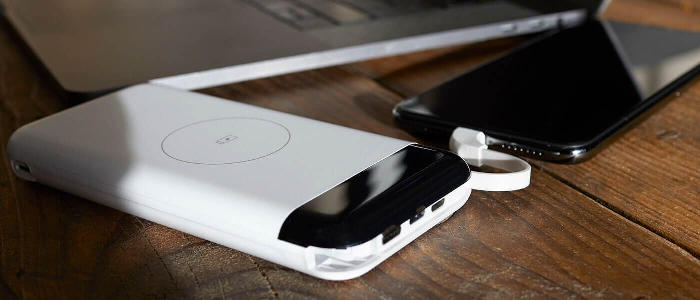 White Wireless Phone Charger with Iphone